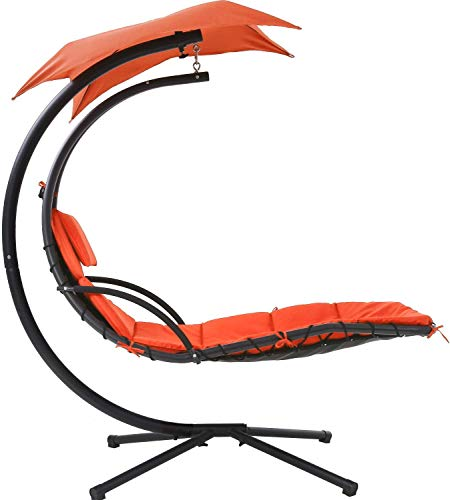 Orange Best Patio Chair Hanging Chaise Lounger Chair Floating Chaise Canopy Swing Lounge Chair Hammock Arc Stand Air Porch Stand for Canopy Swing Chair Naps Use Indoor and Outdoor, Adjustable Umbrella