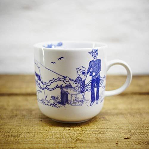 Kaffeebecher - 100% Handmade von Ahoi Marie - Motiv Oberwasserwelt - Maritime Porzellan-Tasse original aus dem Norden