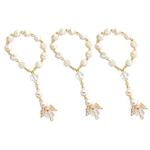 STOBOK 12 Piezas de Pulsera de Perlas Rosarios de Bautizo Mini Rosarios con Ángel para La Primera Comunión Favores de Fiesta de Bautismo (Oro Blanco)