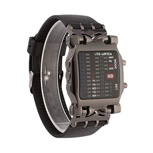 Multifuncional Popular Dial Cuadrado Uisex Binary Led Relojes Digitales Banda de Goma Reloj de Pulsera Deportivo Informal para Exteriores - Negro