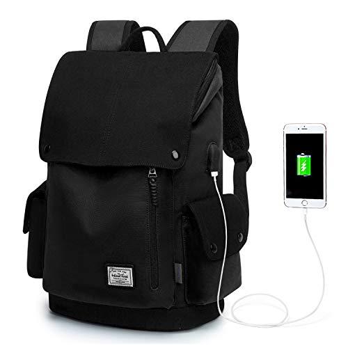 WindTook Backpack Daypack 15 Zoll Laptop Rucksack Schulrucksack Tagesrucksack mit USB Anschluss für Uni Büro Alltag Freizeit, Schwarz