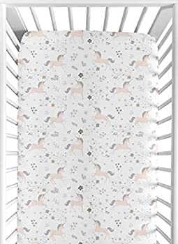 Pink Grey and Gold Baby or Toddler Fitted Crib Sheet for Unicorn Collection by Sweet Jojo Designs