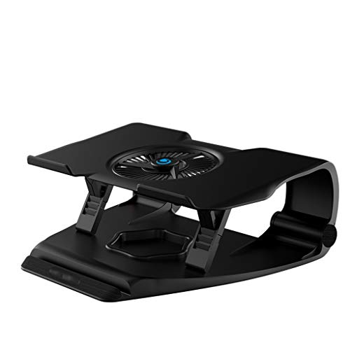 Laptop Cooling Pad Laptop Cooling Stand With RGB Backlighting 12' - 17' Gaming Laptop Cooling Pad For Desk USB Powered Fan Silent Exhaust Fan Lifts And Raises Shelf Laptop Cooler (Color : Black)
