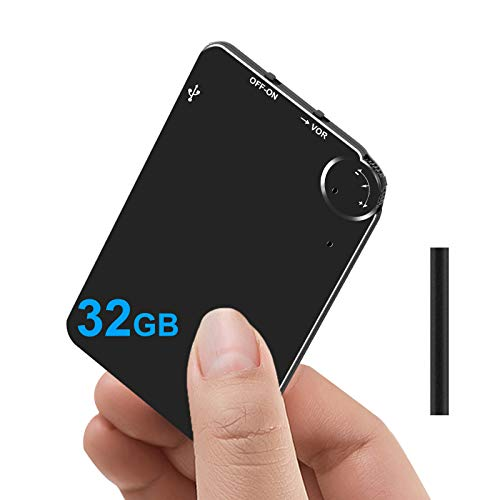 Hfuear Ultra Thin Voice Activated Recorder,32GB Mini Digital Voice Recorder with 2300 Hours Recordings Capacity, Long Hours Recording Device with 72 Hours Battery Time for Meetings Lectures