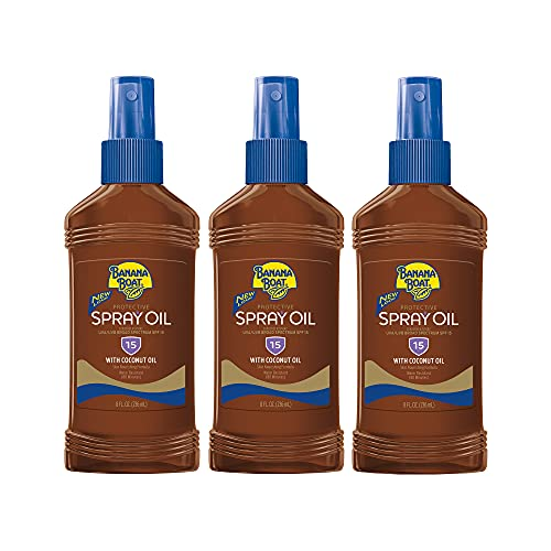 Banana Boat Deep Tanning Oil, Reef Friendly, Pump Sunscreen Spray with Coconut Oil, SPF 15, 8oz. - Pack of 3