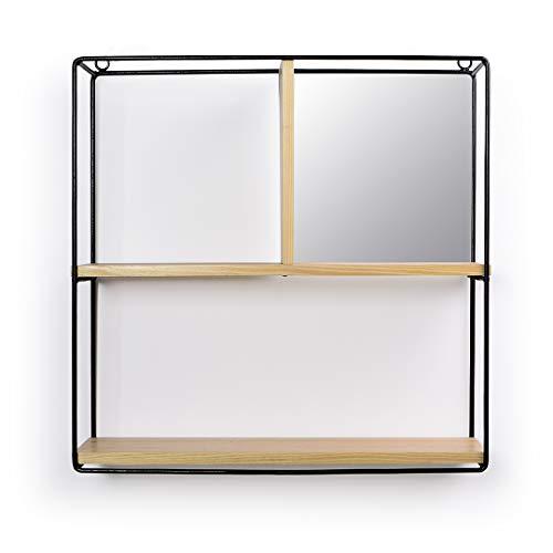 Nicho Quadrado Madeira Com Espelho Home Glass Colorido
