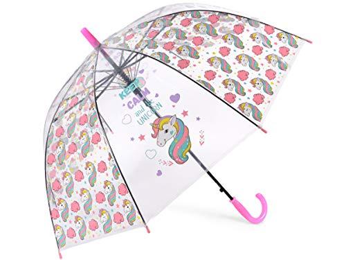 Alsino Kinder Regenschirm Leichter Stockschirm Wetterfest Einhorn-Designs Pink Transparent Griff mit Trillerpfeife