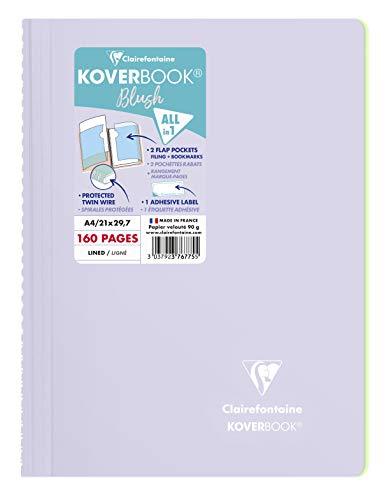 Clairefontaine 376775C - Cuaderno de espiral Koverbook Blush, 160 páginas desmontables, 21 x 29, 7 cm, 90 g, con rayas, tapa de polipropileno envuelta, color lila y verde