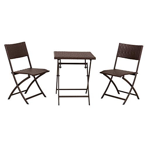 Amazon Basics 3-Piece Foldable PE Rattan Faux Wicker Square Patio Bistro Dining Set, Dark Brown