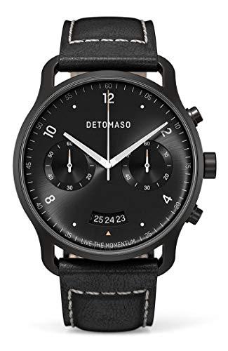 DETOMASO SORPASSO - Reloj de pulsera analógico para hombre (cronógrafo, edición limitada, correa de piel italiana), color negro
