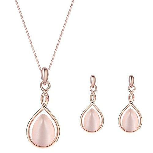 Cosanter 1Set Mezcla Collar y Pendientes con Incrustaciones de Circonio de la Manera Mujeres de la Joyería Color Rosa Circonita Collar Corazón Cadena
