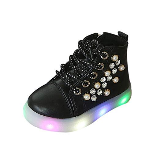 Filles Bottes Bottines Basket LED Lumineuse Princesse Doux Chaussures, Yncc Le Cristal de Perle Bébé d'enfants A Mené Les Chaussures De Bottes Sport Course Lumineuses
