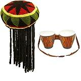 Conjunto de 2 piezas de tambores y sombreros hinchables para disfraz africano jamaiquino