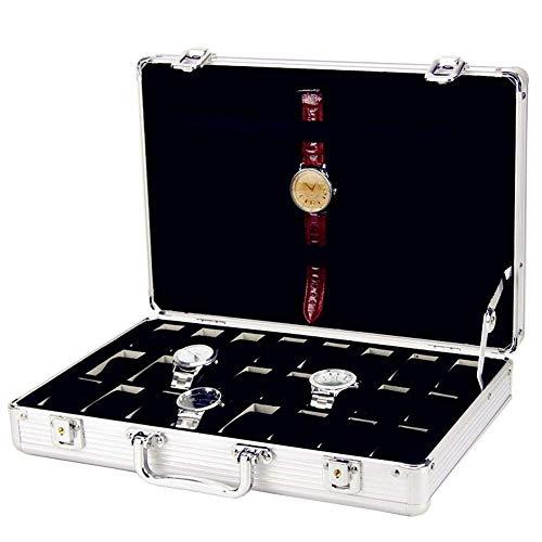 Suytan Cajas de Alenamiento de Relojes Caja de Reloj Caja de Alenamiento de Exhibición de Reloj de Aleación de Aluminio de Rejilla 24 Caja de Exhibición de Reloj Organizador de Reloj,Plata,Tamaño Lib