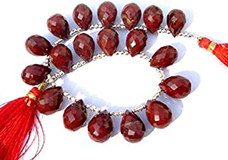 "Jewel Beads Natural Beautiful jewellery Red Jasper Faceted Drop Briolettes Size 14x10mm 4"" strand.Code:- JBB-15584"