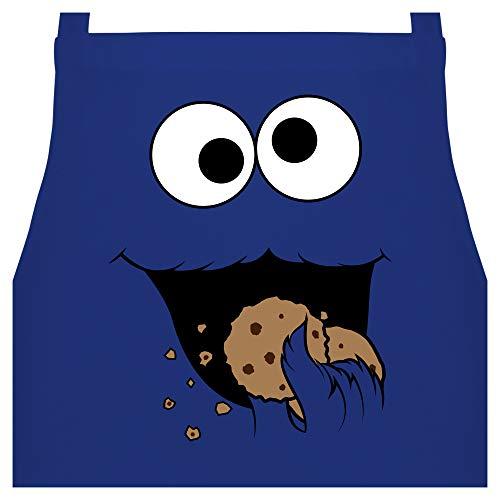 Shirtracer Schürze mit Motiv - Keks-Monster - 60 x 87 cm (B x H) - Royalblau - Kochschürze - PW102 - Kochschürze für Männer und Damen