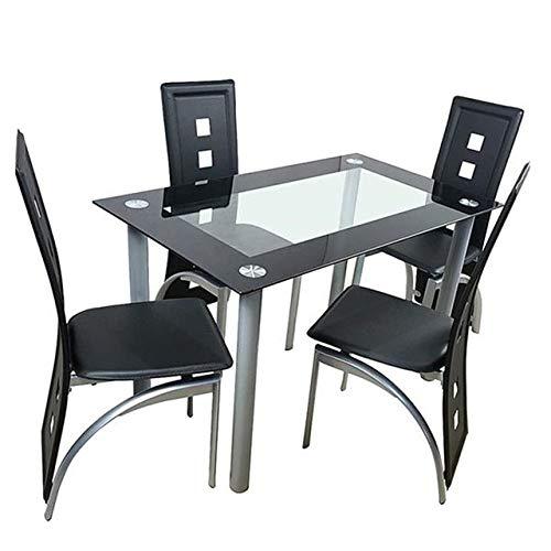 Mesa de comedor de cristal templado POXZPM de 110 cm, mesa de comedor de cristal templado con 4 sillas, transparente y negro Estados Unidos