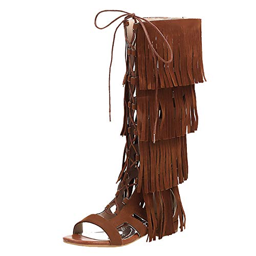 Lydee Damen Klassischer Gladiator Sandalen Flach Sommer Stiefel Overkneestiefel Reise Schuhe Schnüren Franse Yellow Gr 46