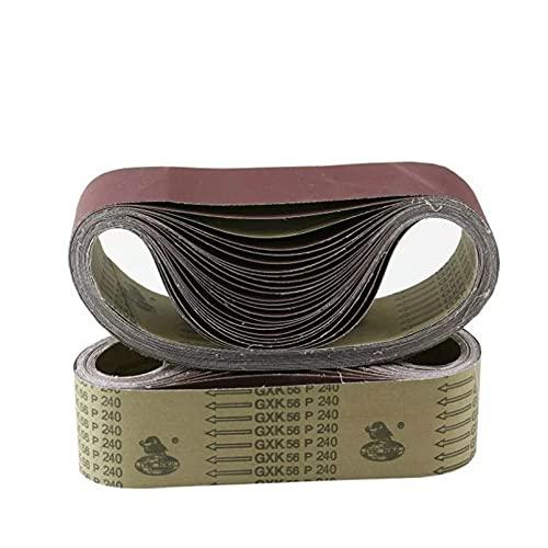 BINGXY Paquete de 10 Bandas de Lijado de 533x75mm, lijadora de óxido de Aluminio de Grano 40-1000, Bandas de Lijado de 3'x 21' para pulir la máquina de Banda de Arena