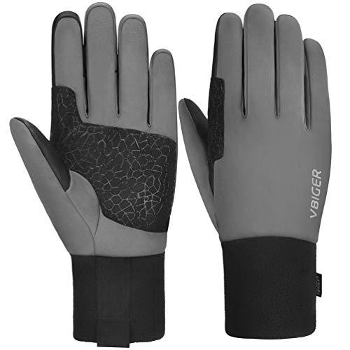 VBIGER Gants Hiver Impermeable Chaud Tactile Gants Sport Vélo Running Ski Randonnée pour Hommes et Femmes (Gris, M)