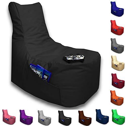 Sitzsack Big Gamer Lounge Ø 80cm Sessel mit EPS Sytropor Füllung In & Outdoor Erwachsene Riesensitzsack Sitzsäcke Sessel Kissen Sofa Sitzkissen Bodenkissen Gaming (Schwarz)