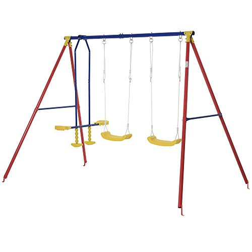 Outsunny Kids Swing Set w/ 2 Seats Glider Adjustable Hanging Rope for Backyard, 3-5 Years