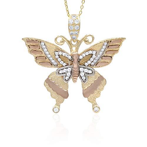 Collana in oro - 14K - Pendente farfalla - in oro bianco, giallo e rosa - ali con zirconi trasparenti - peso gr 6.70 - Girocollo lunghezza 50 cm