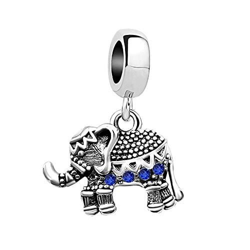 KunBead Elephant Bead Charms for Bracelets for Women Love Animal Birthstone Crystal Charm Beads blue