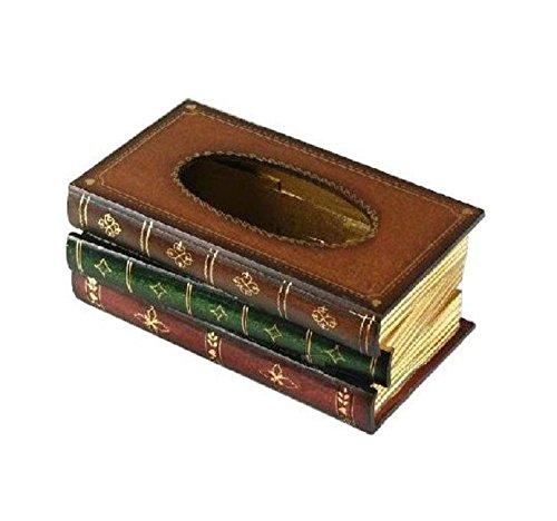 レトロ 本型 ・ ティッシュボックス ・ ティッシュケース ・ 木製 ティッシュ ペーパー ボックス box ケース ・ アンティーク ブック タイプ 各色 (ブラウン)