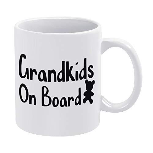 Grandkids on Board - Taza de café divertida de 445 ml, para niños a bordo, gran regalo para mamás, papás, abuelos, seguridad, el mejor regalo personalizado para tus amigos y familiares