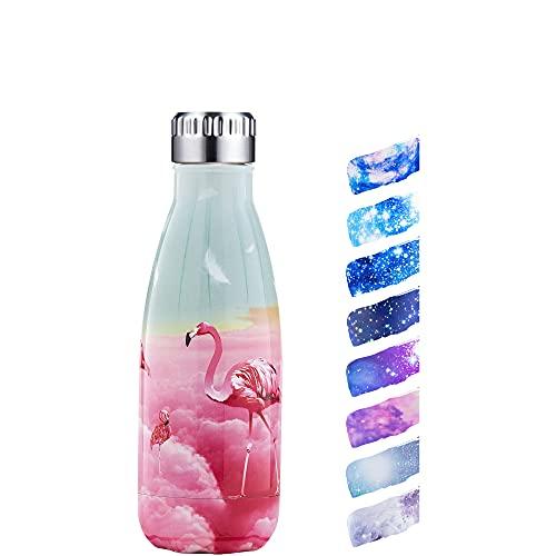 HonHike Botella de Agua Acero Inoxidable 350ml, Aislamiento de Vacío de Doble Pared Botella Termica Para Niños, Adulto, Sport, Gimnasio - Flamenco Rosa