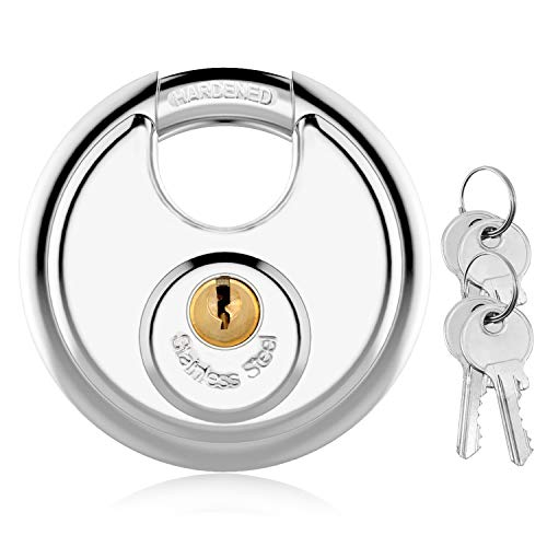 Discus Keyed Padlock Disc Storage Locks with Hardened Steel Shackle for Storage Unit, Moving Trailers, Shed, Fence(3/8-Inch Shackle,4keys)