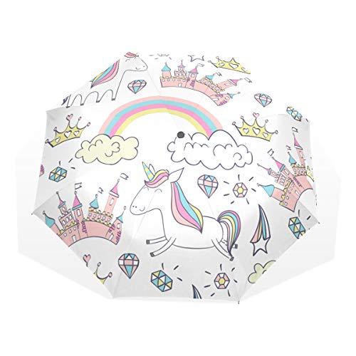 ISAOA Paraguas de Viaje automático, Paraguas Plegable, mágico, diseño de Unicornio, Resistente al Viento, Ultraligero, protección UV, asa compacta para fácil Transporte para Mujeres y Hombres