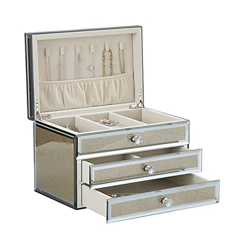 Caja de joyería Caja de joyería para mujeres con 2 cajones, caja de joyería de vidrio Organizador de joyería de terciopelo para pendiente Brazalete Pulsera Collar y anillos Almacenamiento Organizadore