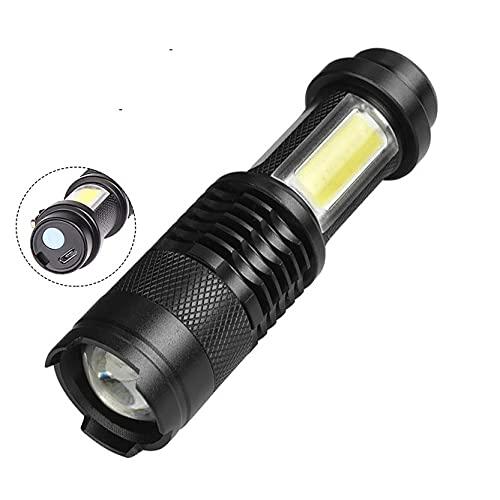 ENOSTORE Mini linterna con batería integrada con carga USB COB LED Zoomable impermeable táctica linterna bombillas LED (color emisor: paquete A)