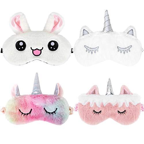 Bascolor 4 Piezas Unicornio Antifaz para Dormir Niños Máscara para Dormir Conejo Animal Máscara de ojos Venda Viajar Siesta Niño Niña Mujer