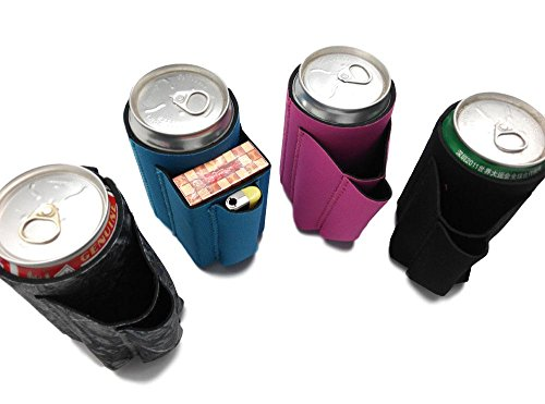 Beer Can Chuggie With Two Pockets - Holds Cigarette And Lighter, Phone, Keys, 3mm Neoprene (Assorted, 4 Pack)