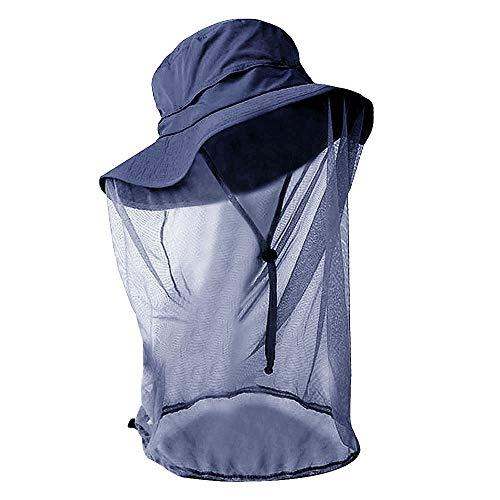 Rebecca Women Head Net Hat UV Protection Sun Hat Outdoor Anti-Mosquito Mask Hat (Navy Blue)