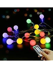 Globe String Lights 5.5M 50 stuks, Remote Fairy Lights, LED String Lights Draagbaar, Outdoor met Waterdichte 8 Modes, Sterrenwandlampen, Bruiloft, Feest、Thuis, Kerstdecoratie (Warm Wit, Batterij)
