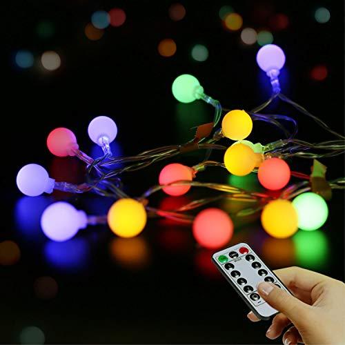LED-Lichterkette, wasserdicht, tragbar, 5,5 m, 50 Stück, Globus-Lichterkette mit Fernbedienung, 8 Modi, Sternenhimmel, für Hochzeit, Party, Zuhause, Weihnachtsdekoration (mehrfarbig,batterie)