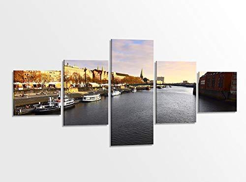 Leinwandbild 5 tlg. 200cmx100cm Skyline Bremen Hafen Fluss Stadt Bilder Druck auf Leinwand Bild Kunstdruck mehrteilig Holz gerahmt 9AB373