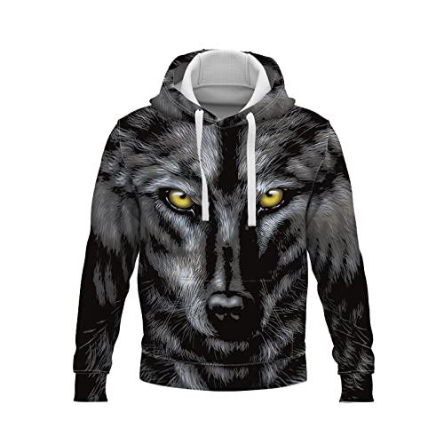 con Capucha Encapuchado con Unisex Mangas largas Capucha Tops Chaqueta Abrigo Capucha con Estampado Digital 3D de Wolf para Hombre