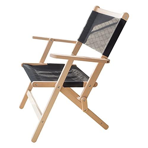 Hanghaijia Silla plegable de madera maciza para exteriores, portátil, diseño cruzado de mariposa, silla de picnic, playa, pesca, ocio (color: negro, tamaño: grande)