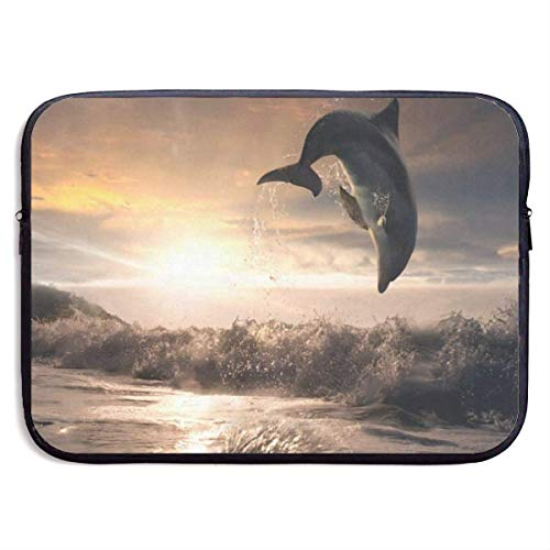 15 Inch Laptop Sleeve Briefcase Sunset Dolphin Best Neoprene Waterproof Handbag Protective Bag Cover Case for Surface Laptop/Notebook/Acer/Asus/Dell/Lenovo/iPad/Surface Book