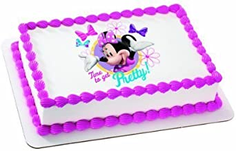 Minnie Mouse Bow-tique Time to Get Pretty Personalized Edible Cake Image Topper