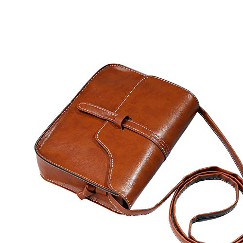 KinshopS Borsa da Donna Vintage Borsa a Tracolla a Tracolla in Pelle PU Borsa a Tracolla Femminile Tinta Unita Borsa Piccola da Viaggio Casual
