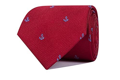 CARLO VISCONTI - Corbata de Hombre - Motivo Anclas - Rojo y Celeste - Tejido Jacquard 100% Seda Natural - Forro de Lana y Algodón - Corbata de Hombre Original - Regalo para Caballeros