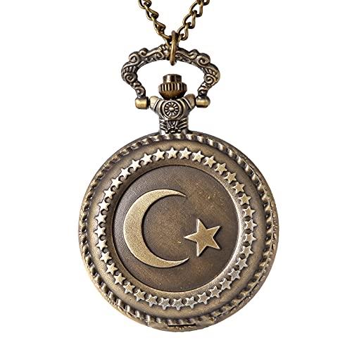 XGJJ Reloj de bolsillo de cuarzo para estudiantes con números arábigos de bronce retro clásico de metal para hombre
