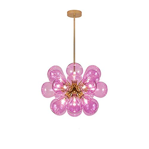 Lámpara de araña de burbujas de bola de cristal nórdica de mediados de siglo, luces modernas creativas Sputnik Lámpara colgante, lámpara de luz de techo G9 para sala de estar, cubierta dorada y azul,