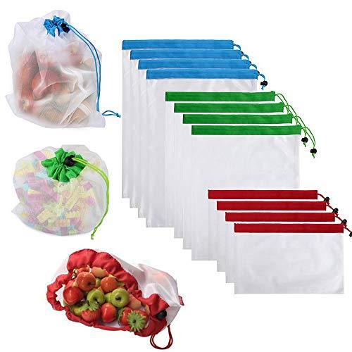 12 pezzi Riutilizzabile Grocery Bags, Frutta Verdura Sacchetto di Mesh Rigenrabile - Set Lavabile - con morbide etichette color pastello - 3 Misure